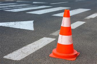 Safety cone in road