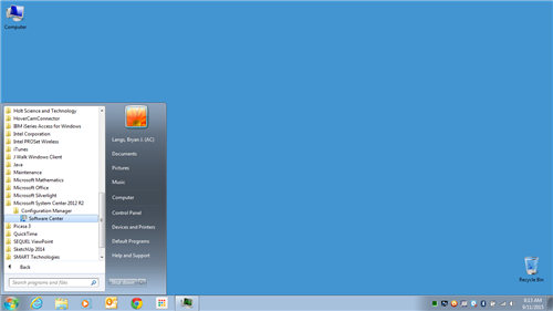 software center start menu